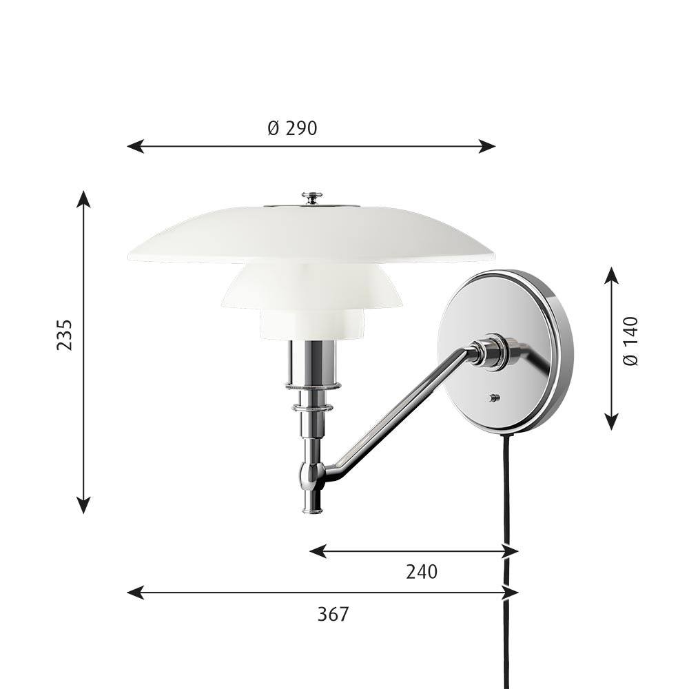 Louis Poulsen Wandlampe PH 3/2 Opalglas Weiß thumbnail 4