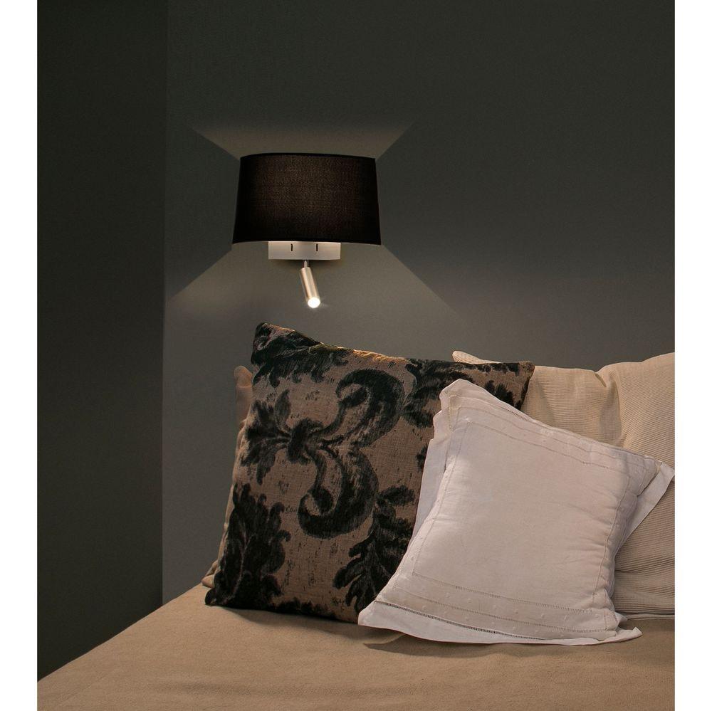 Wandlampe VOLTA mit LED-Leselicht 2700K Nickel, Schwarz thumbnail 3