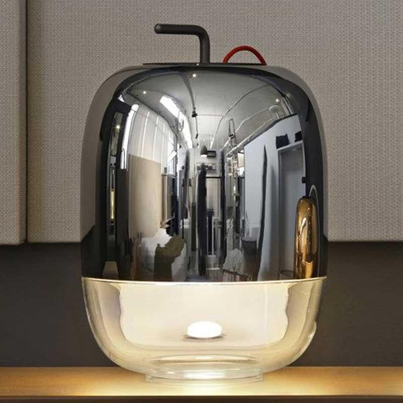 Prandina moderne Glaslampe Gong T3 verspiegelt Rot 1