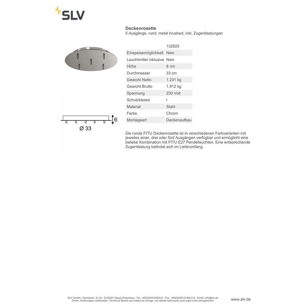 SLV Deckenrosette 5 Ausgänge rund Chrom inkl. Zugentlastungen 2