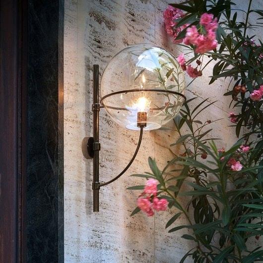 Oluce Kugelglas Außen-Wandlampe Lyndon Schwarz