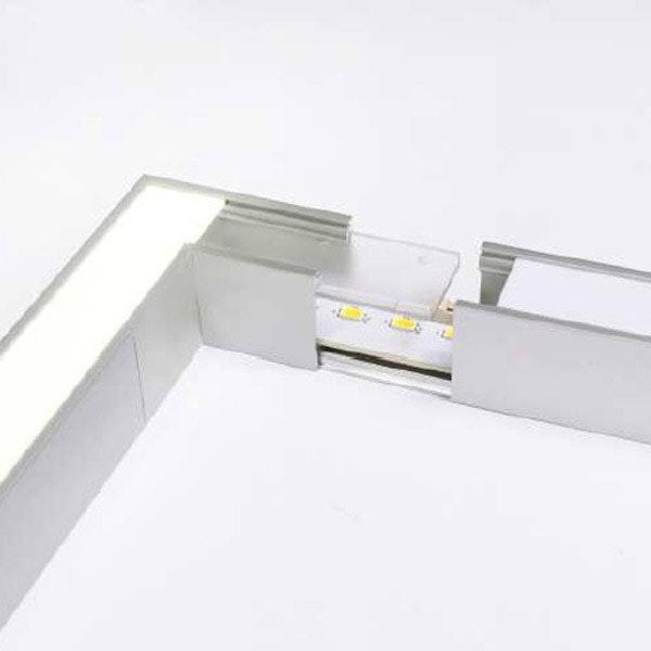 90° Ecke für Aufbauprofil tief Weiß 2