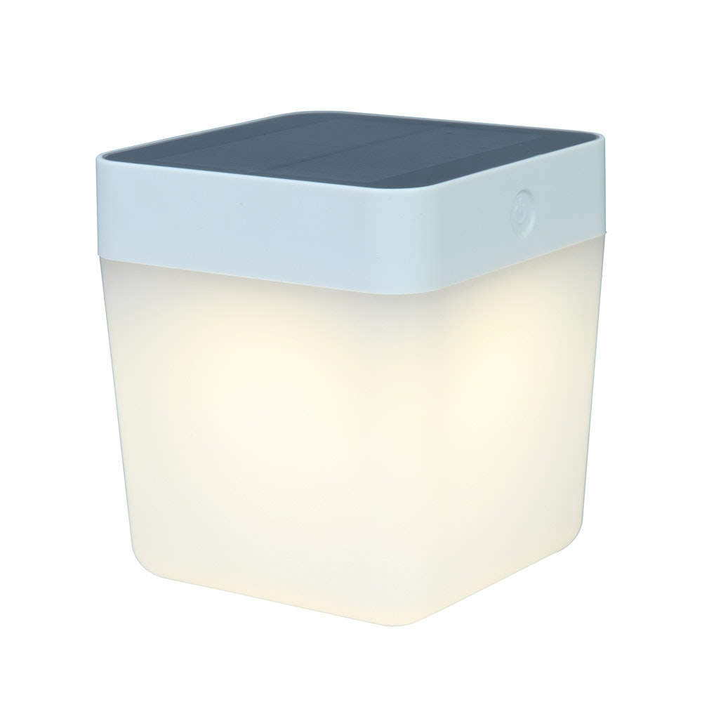 Dimmbare Solar-Tischleuchte Table-Cube IP44 Weiß 3