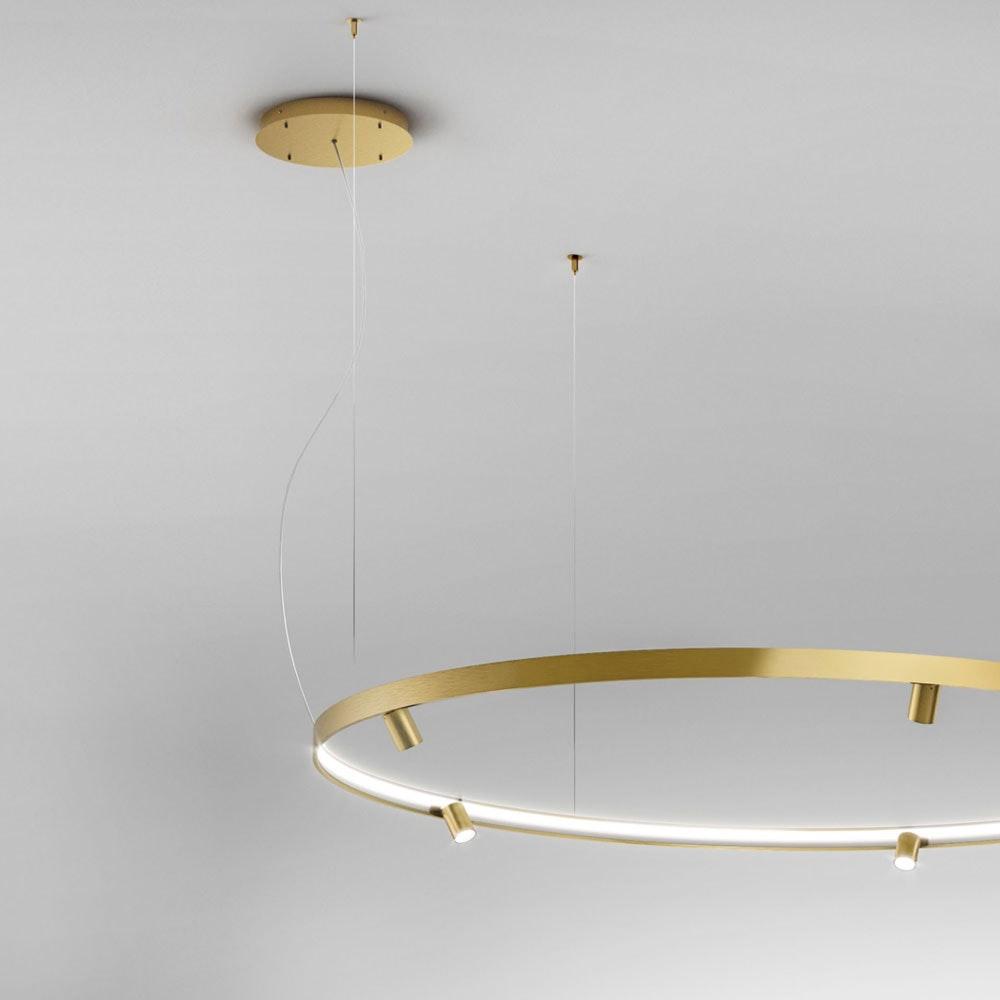 Panzeri Arena LED-Ring Pendelleuchte mit Spots 7