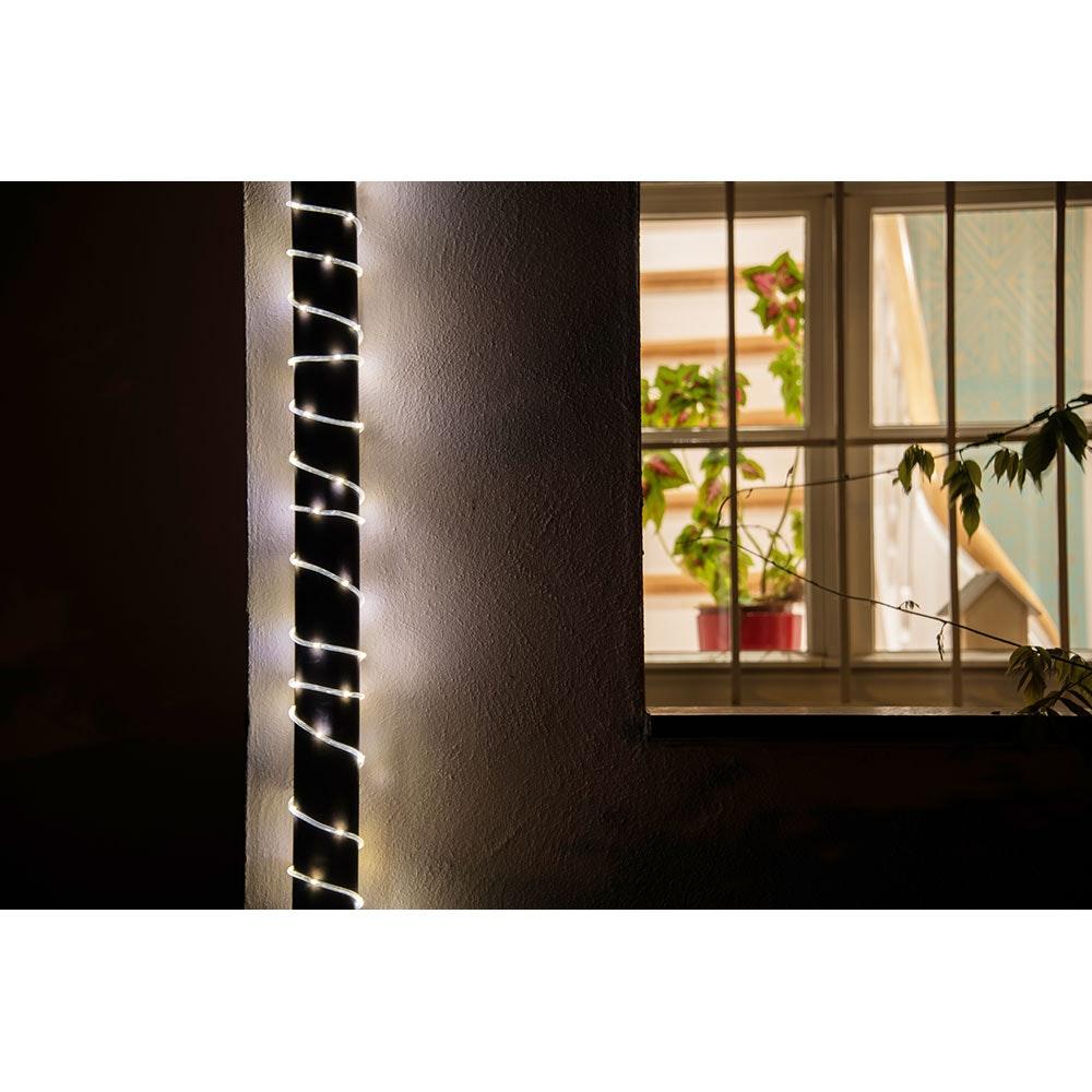 LED Mini Lichterschlauch 5m mit Lichtsensor Timer 65 Warmweiße Dioden batteriebetrieben IP44 8