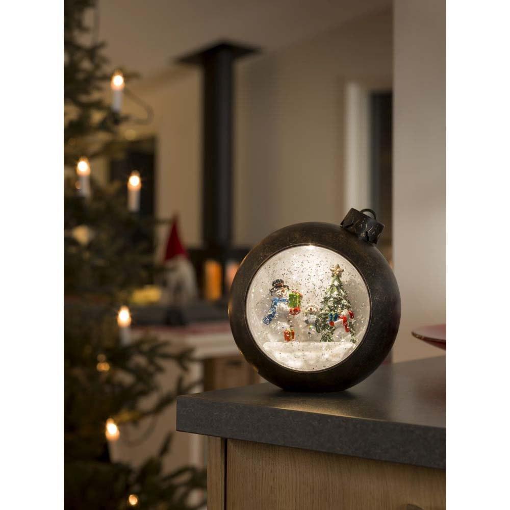 LED Weihnachtskugel Schneemänner wassergefüllt Timer warmweiß batteriebetrieben Innen 1