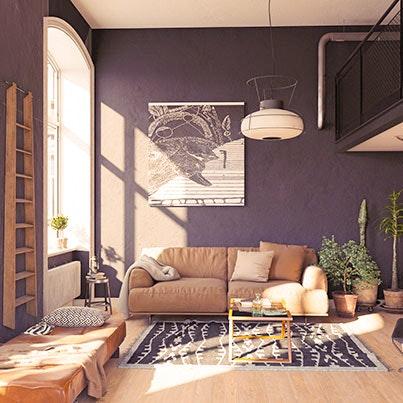 Wohnzimmer mit Deckenleuchte