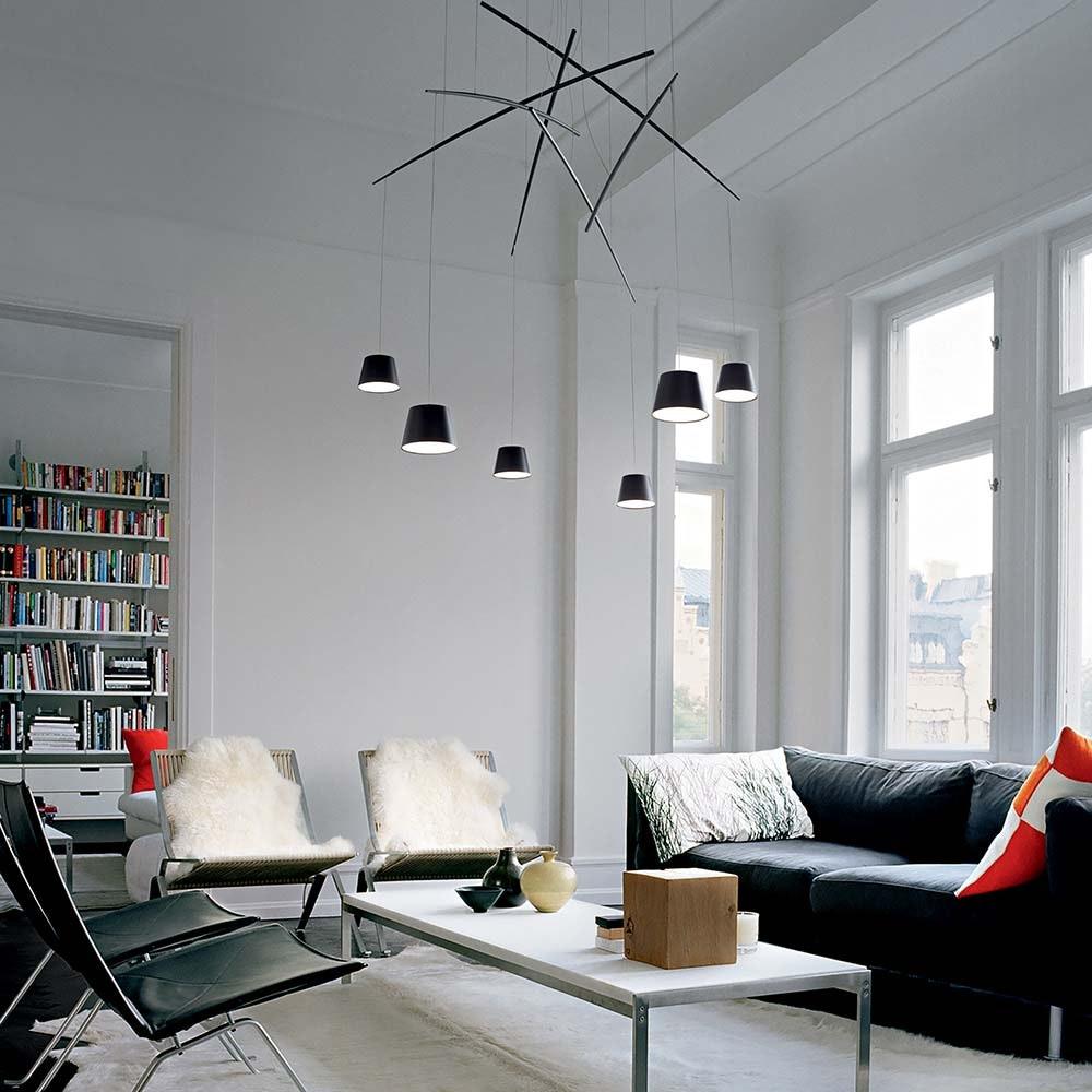 Ideal Lux LED Pendelleuchte Fish 6-flg. Schwarz 1