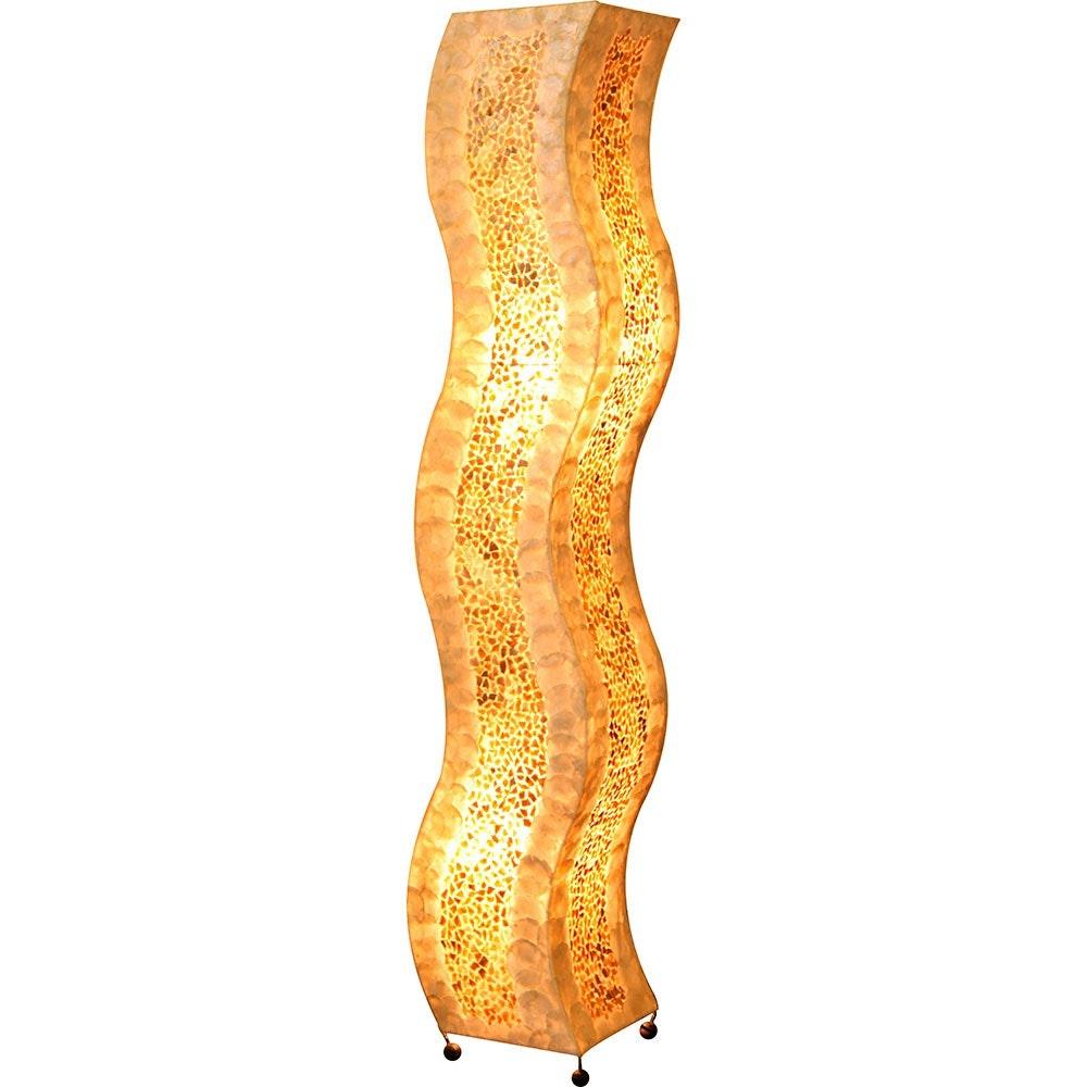Bali Stehleuchte Textil Metall Muscheln 2xE27
