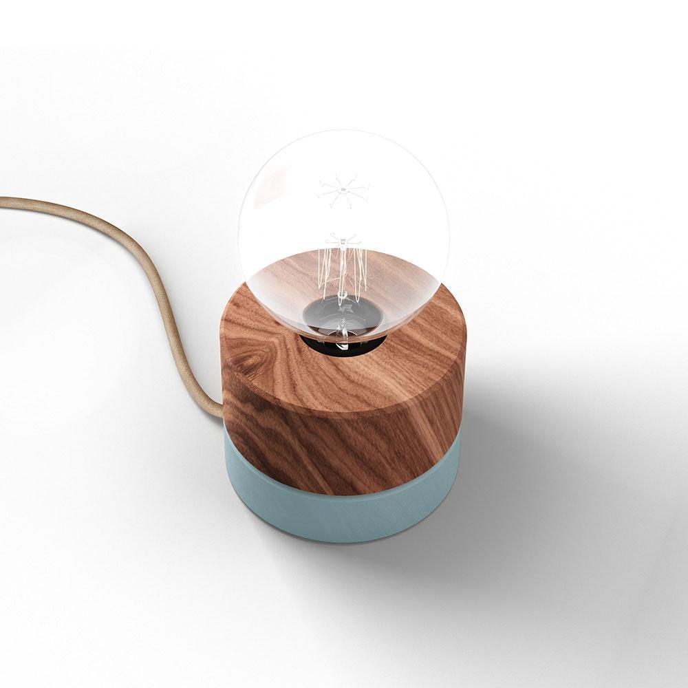Holz Tischlampe Ø11cm in 3 Holzarten 10