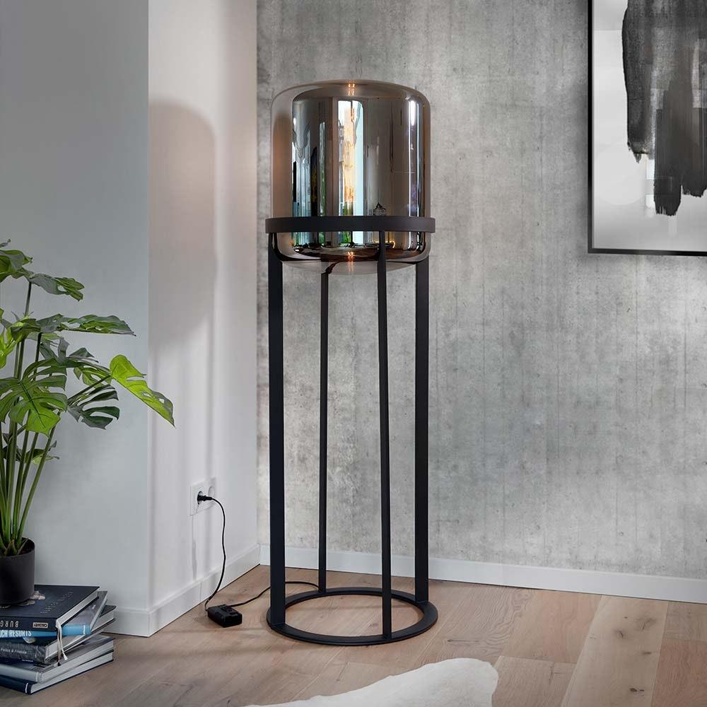 Villeroy & Boch Stehlampe Melbourne 150cm Schwarz, Rauchfarben