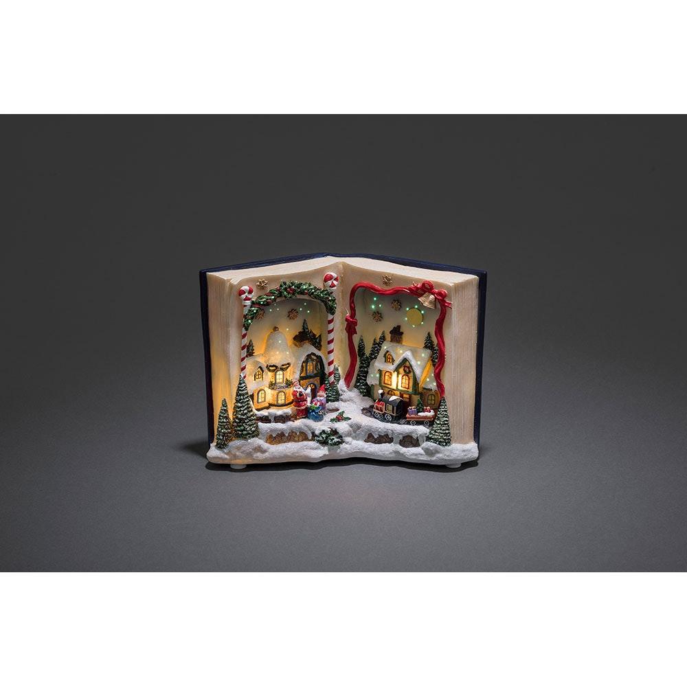 LED Fiberoptikszenerie Buch mit Landschaft Weihnachtsliedern batteriebetrieben 2