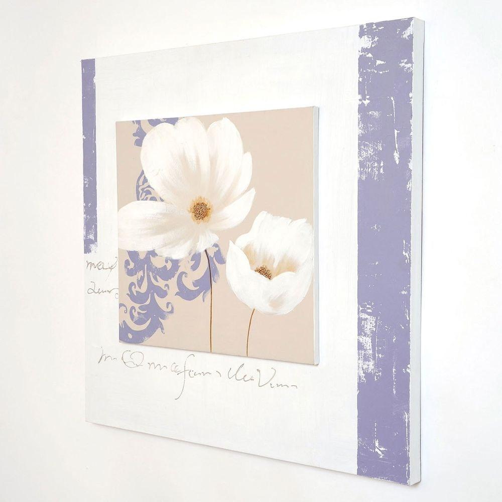 Wandbild Sezione Leinwand-Holzrahmen Weiß-Beige-Violett