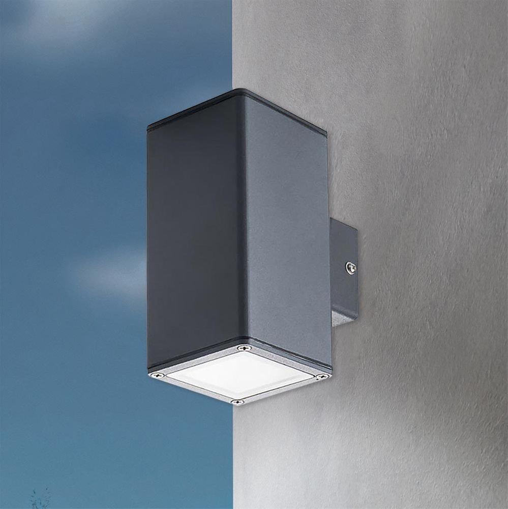 Eckige Außenwandlampe Gori Up&Down IP44 Anthrazit 1
