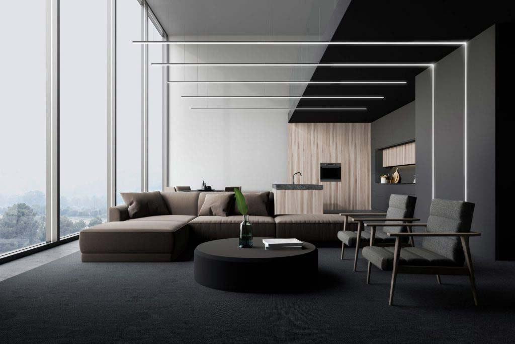 Wohnzimmer mit indirektem Licht