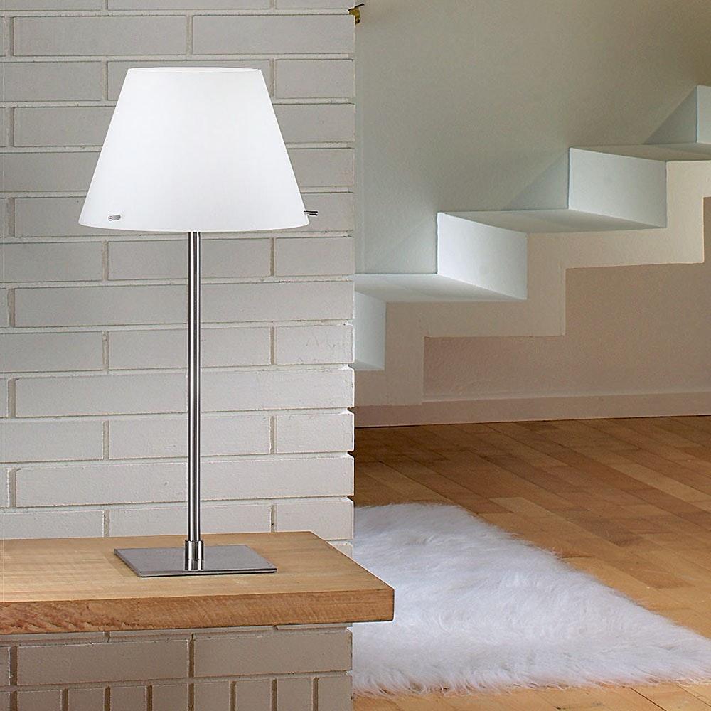 Alexia Tischleuchte mit LED-Dimmer & Glasschirm Nickel-Satiniert, Weiß