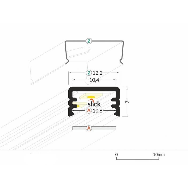 Aufbauprofil mini 200cm Schwarz ohne Abdeckung für LED-Strips 4