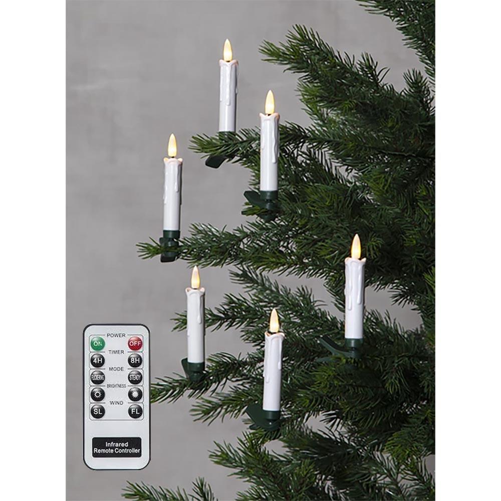 LED-Kerzen Flamme 10-tlg. Kabellos mit Fernbedienung Warmweiß