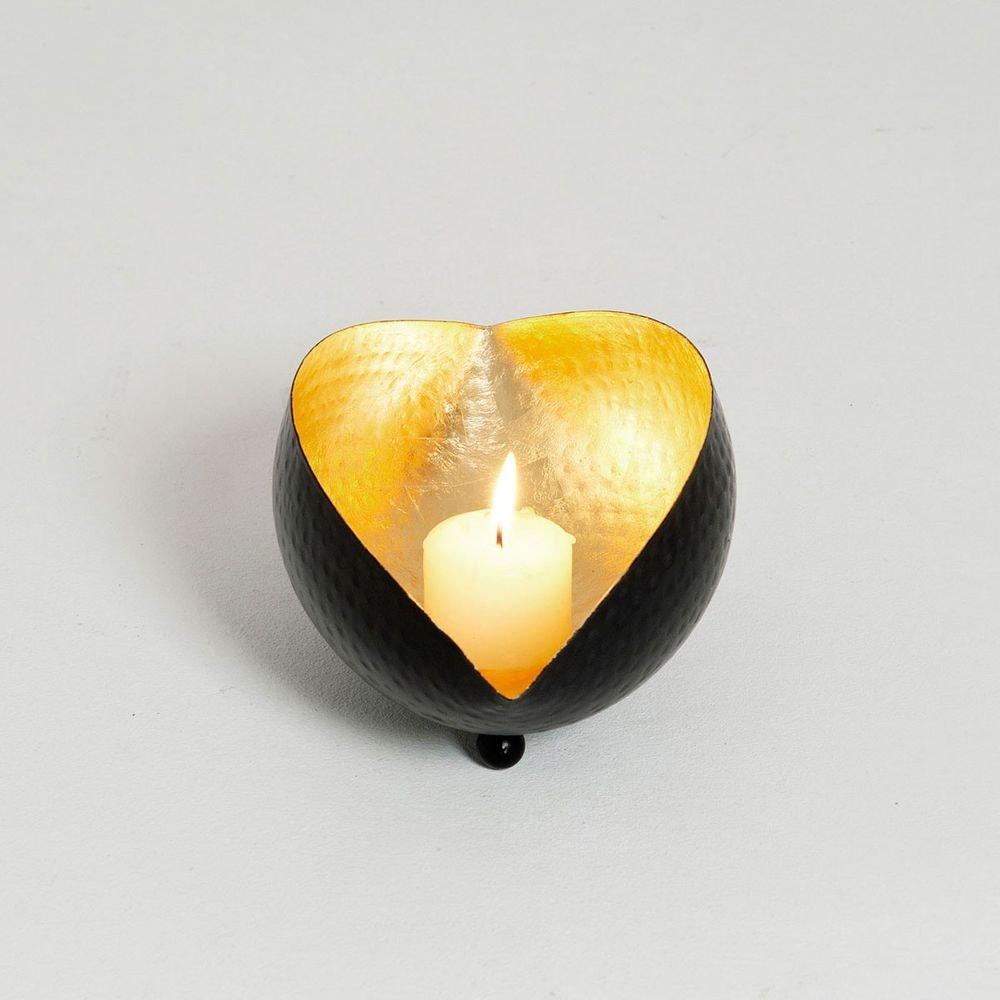 Windlicht Delta L Metall Schwarz-Gold 3