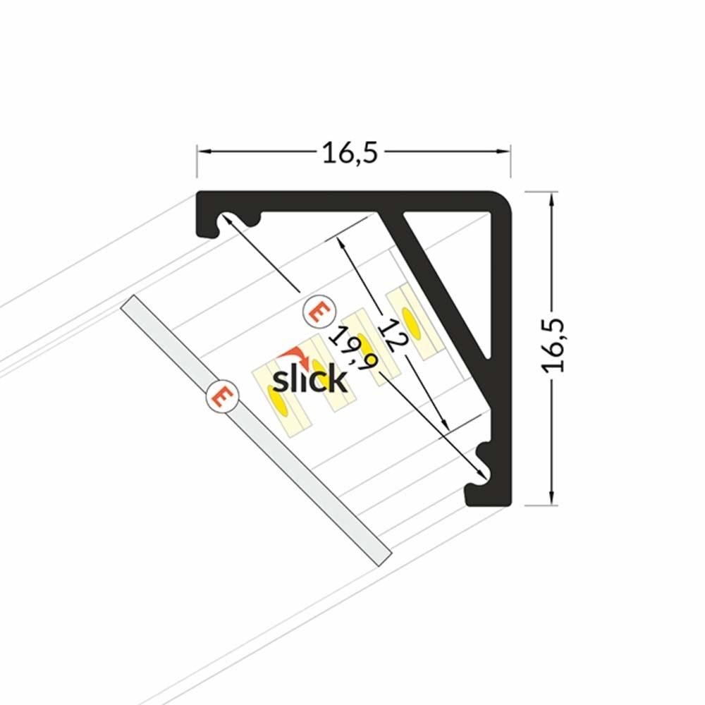 Aufbau-Eckprofil 30° & 60° 200cm Weiß ohne Abdeckung für LED-Strips 5