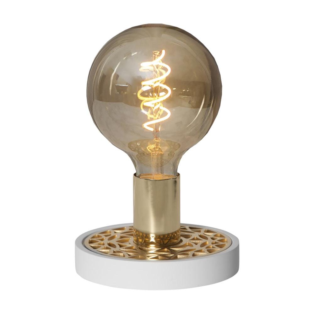 Tischlampe für E27 Leuchtmittel in Weiß und Goldfarben 12