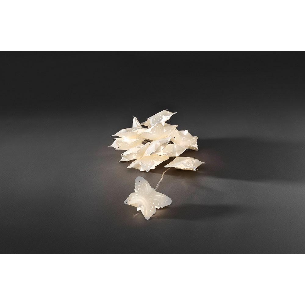 LED Dekolichterkette weiße Papierschmetterlinge 12 Warmweiße Dioden 2