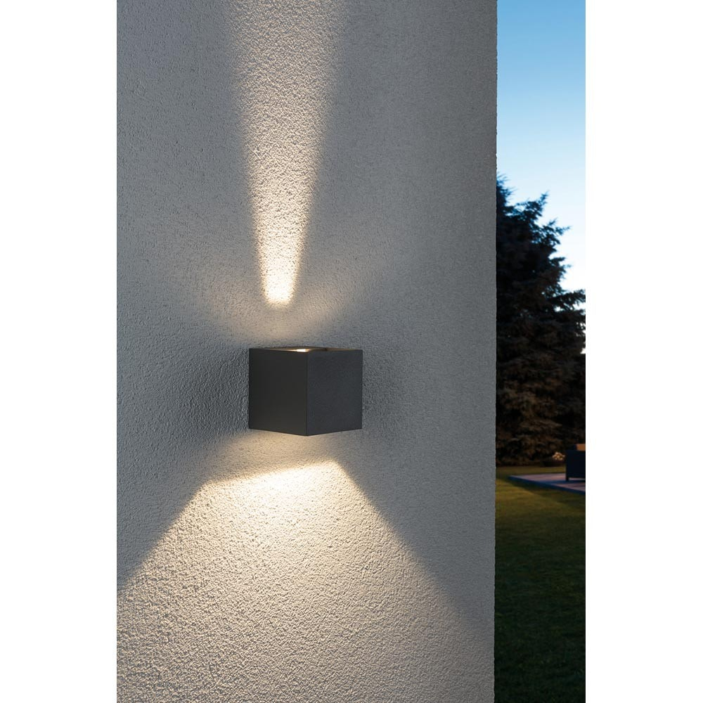Wandaufbauleuchte LED Cybo eckig 2x3W grau 80x80mm 4