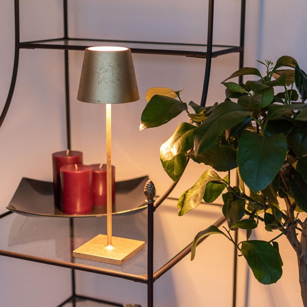 LED Outdoor Akku-Tischlampe Qutarg Dimmbar IP54 Blatt-Gold