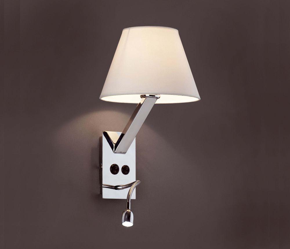 Wandleuchte MOMA-2 mit LED-Lesearm Chrom, Weiß 2