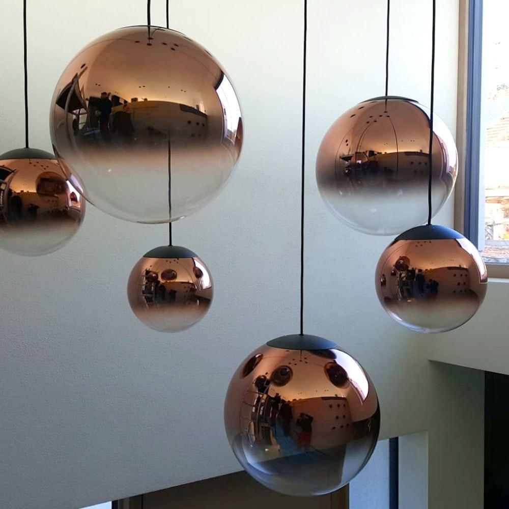 LED Glas Pendelleuchte Reflex Ø 25cm Schwarz, Goldfarben 4