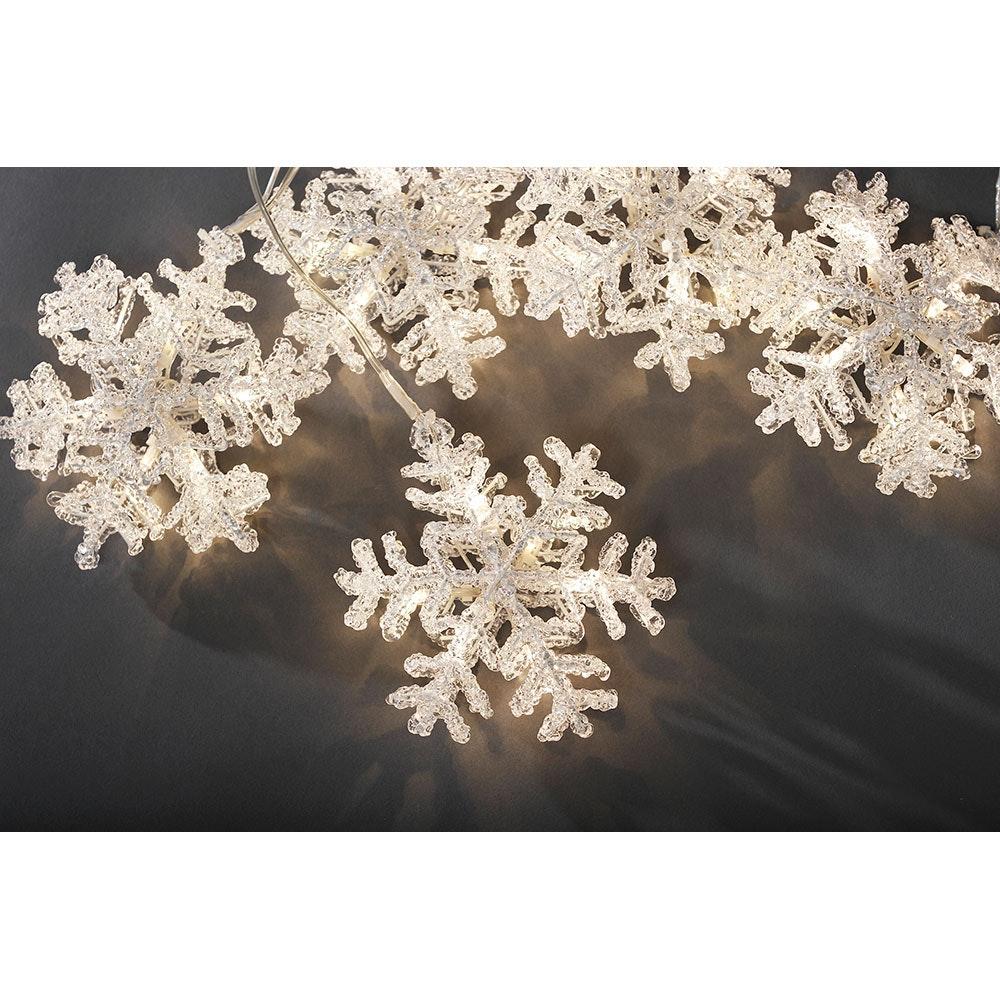 LED Acryl Schneeflocken Lichtervorhang 5er-Set 30 Warmweiße Dioden 5