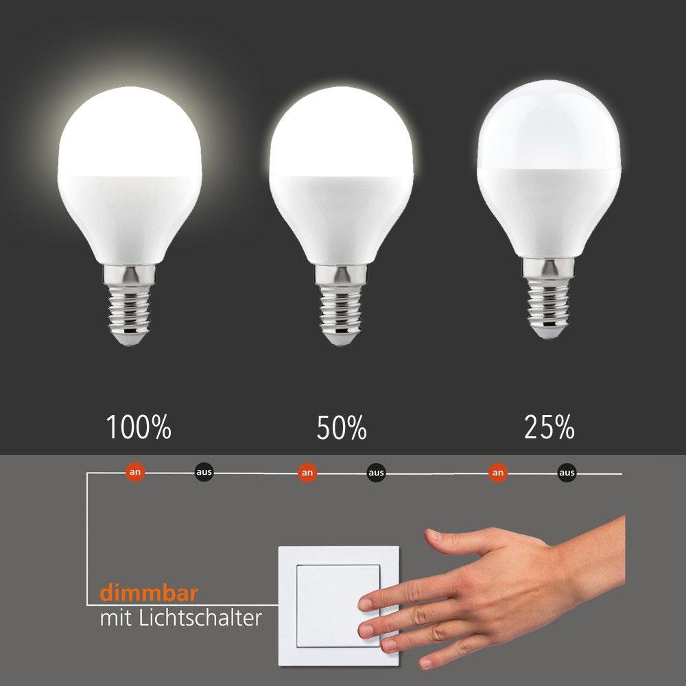 E14 LED-Leuchtmittel dimmbar per Schalter Warmweiß 6W, 470lm