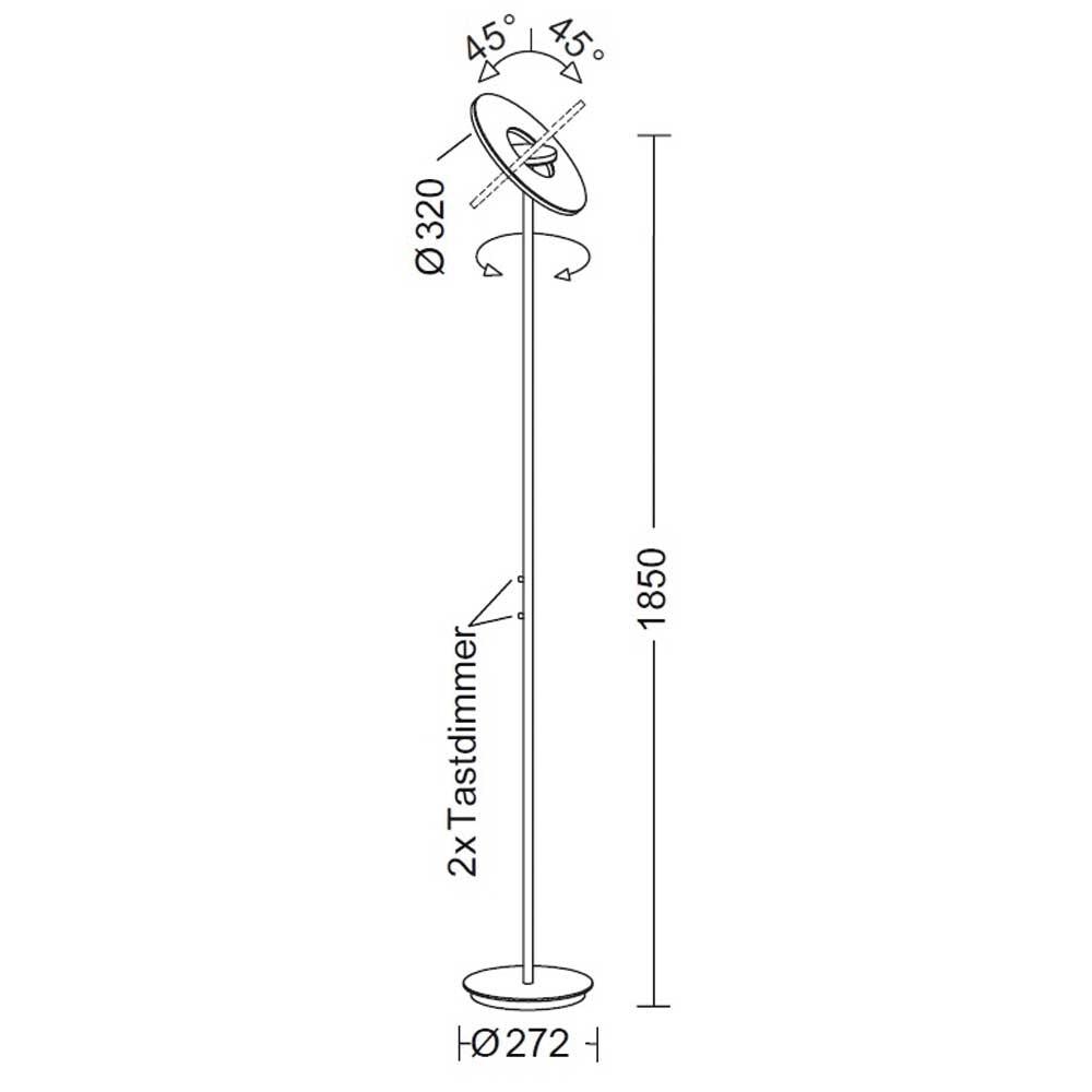 Holtkötter LED-Deckenfluter Nova mit zwei Tastdimmern Schwarz 4