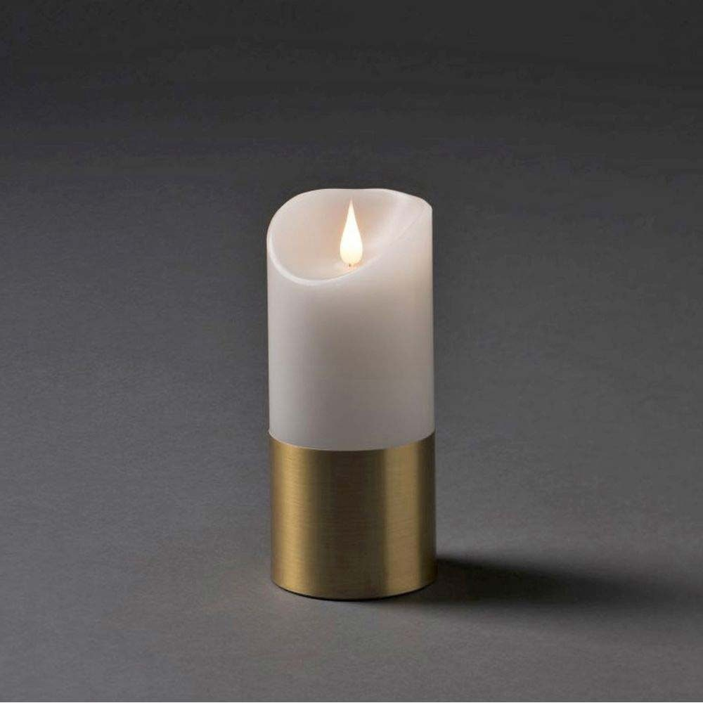 LED Weihnachtskerze mit messingfarbener Banderole 3D Flamme Timer warmweiß batteriebetrieben 1