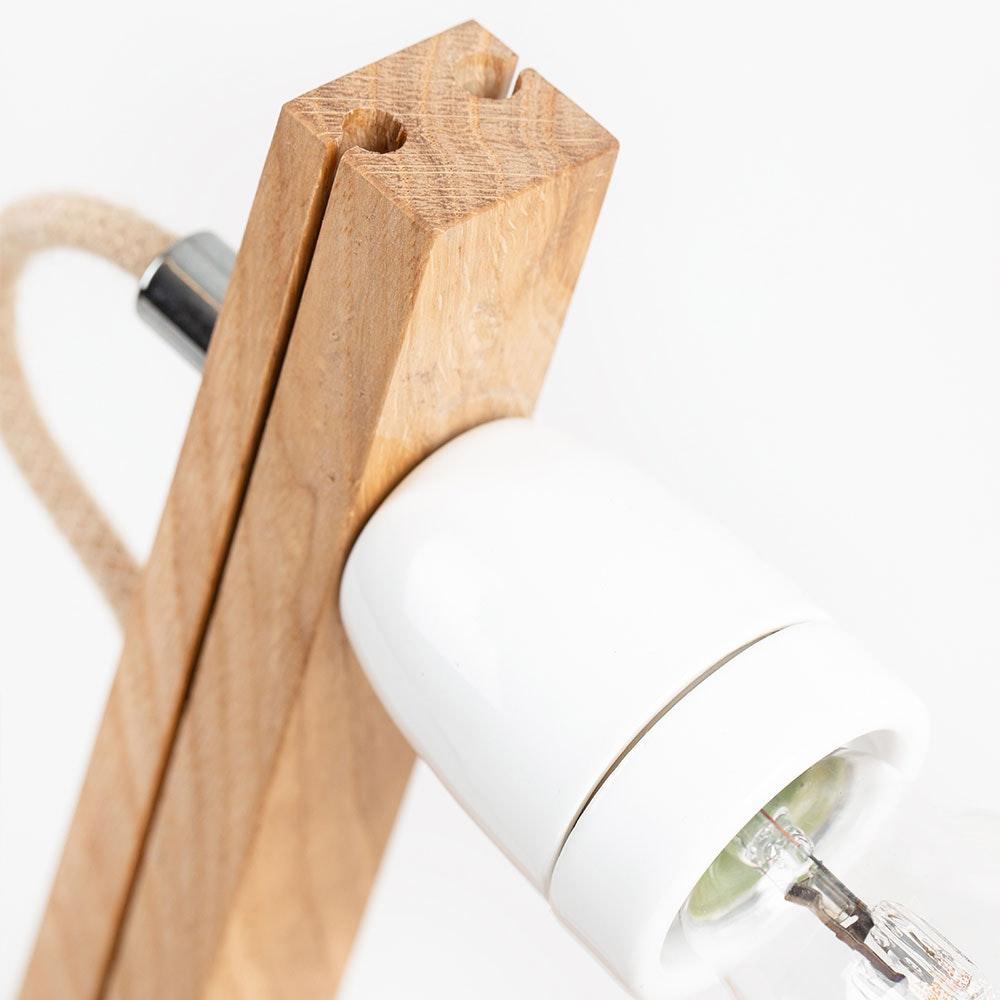 Holz Tischlampe mit Schirm Zylindrisch thumbnail 6