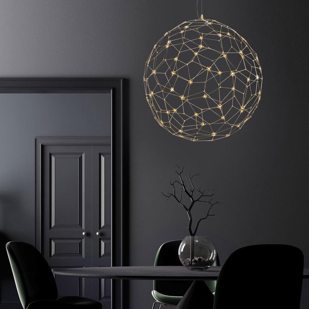 Nova Luce Sole LED-Drahtkugel Hängelampe Goldfarben thumbnail 4