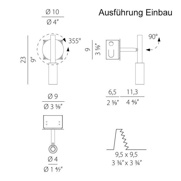Panzeri Tubino LED Einbau Decken- oder Wandspot 4