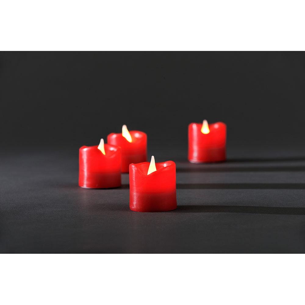 LED Echtwachskerzen 4er-Set rot zerlaufene Wachsoptik 4 Warmweiße Dioden batteriebetrieben 2