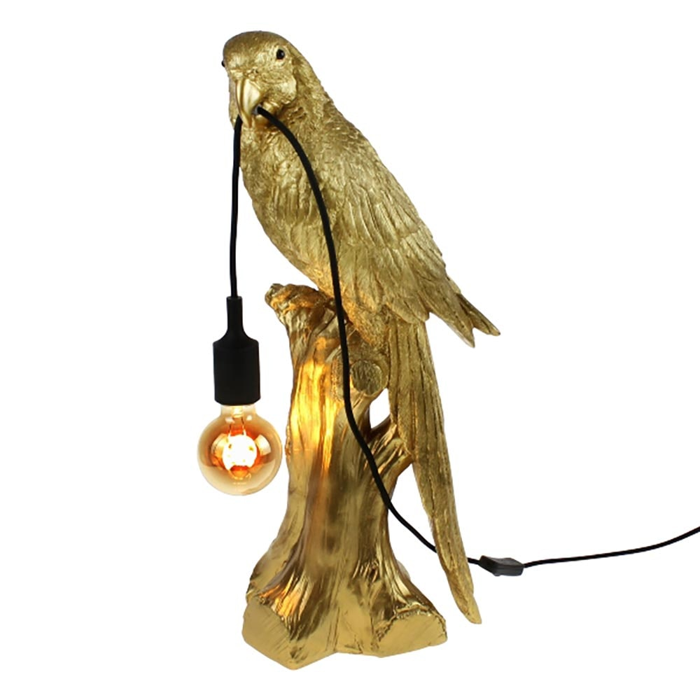 Tischlampe Timmy Papagei Goldfarben 2