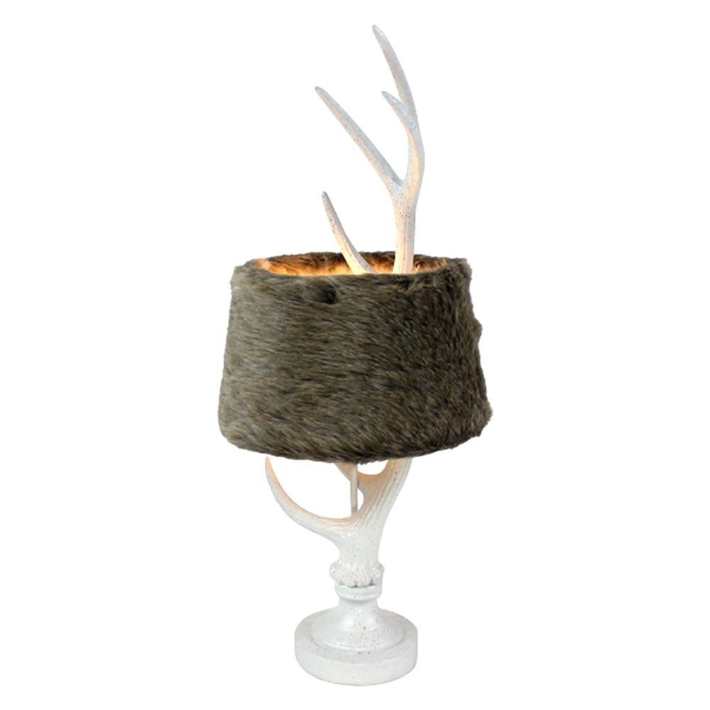 Tischlampe Alm-Horn mit Kunstfell-Schirm