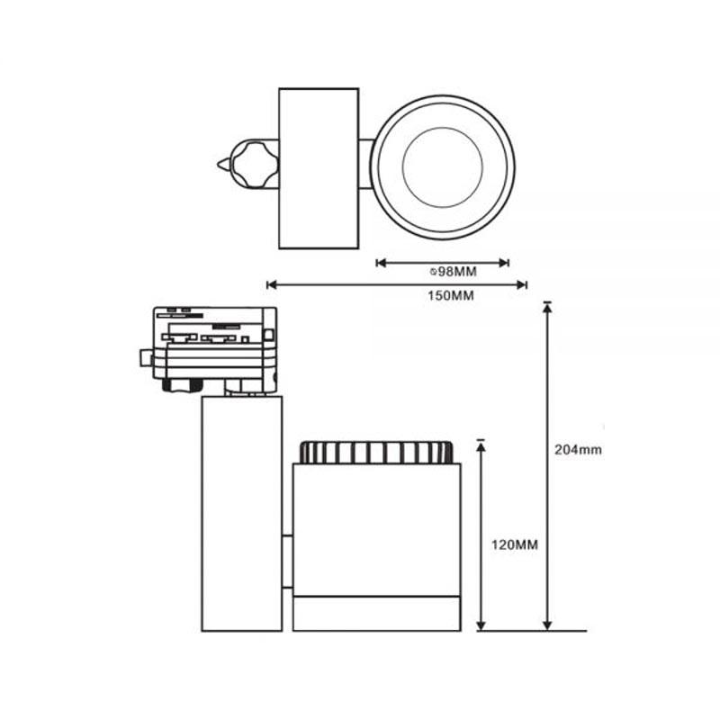 3-Phasen Power-LED Strahler 2700lm 3000K fokussierbar Schwarz dimmbar 3
