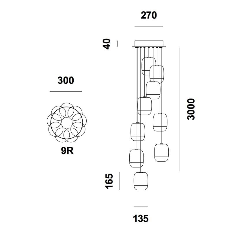 Prandina lange Hängeleuchte Gong Mini 9-flammig Silberfarben 5