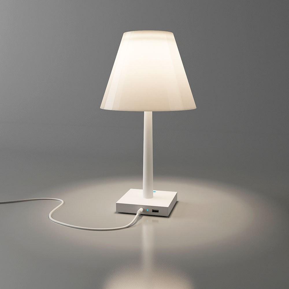 Dina+ Akku LED-Tischleuchte mit Ladestation Weiß thumbnail 5