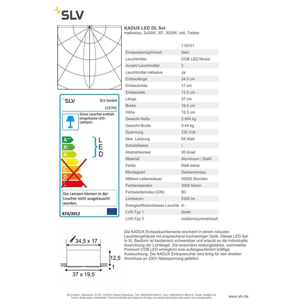SLV Kadux LED Double DL Set Weiß 30° 3000K inkl. Treiber 2