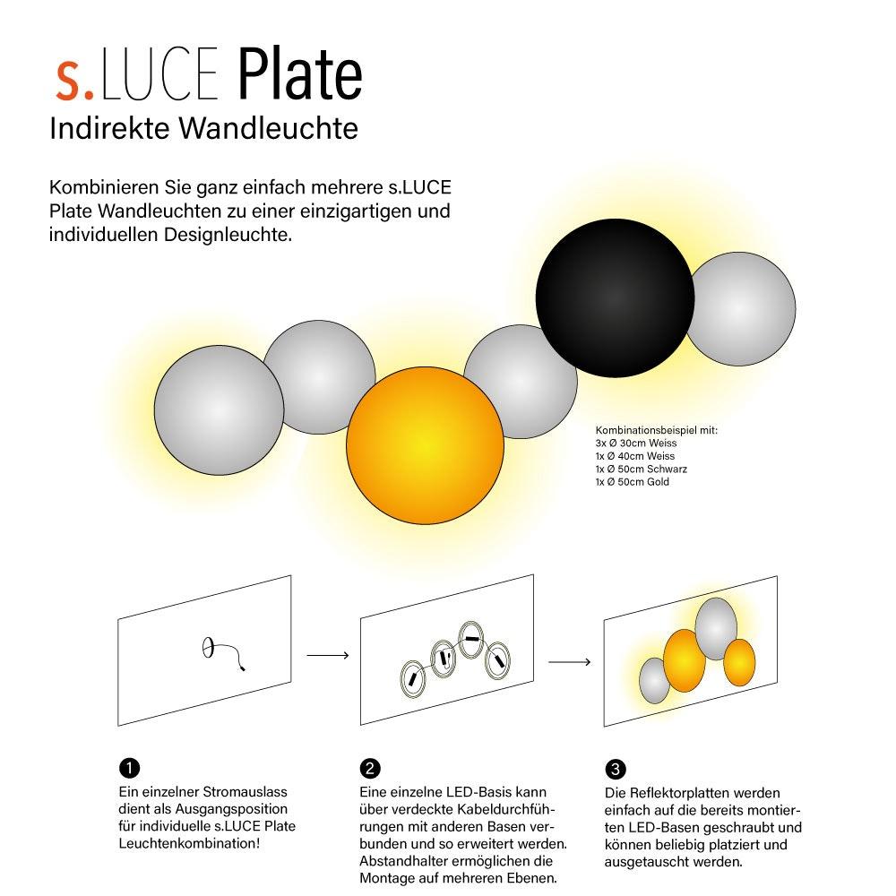 s.LUCE indirekte LED Wandleuchte Plate 12