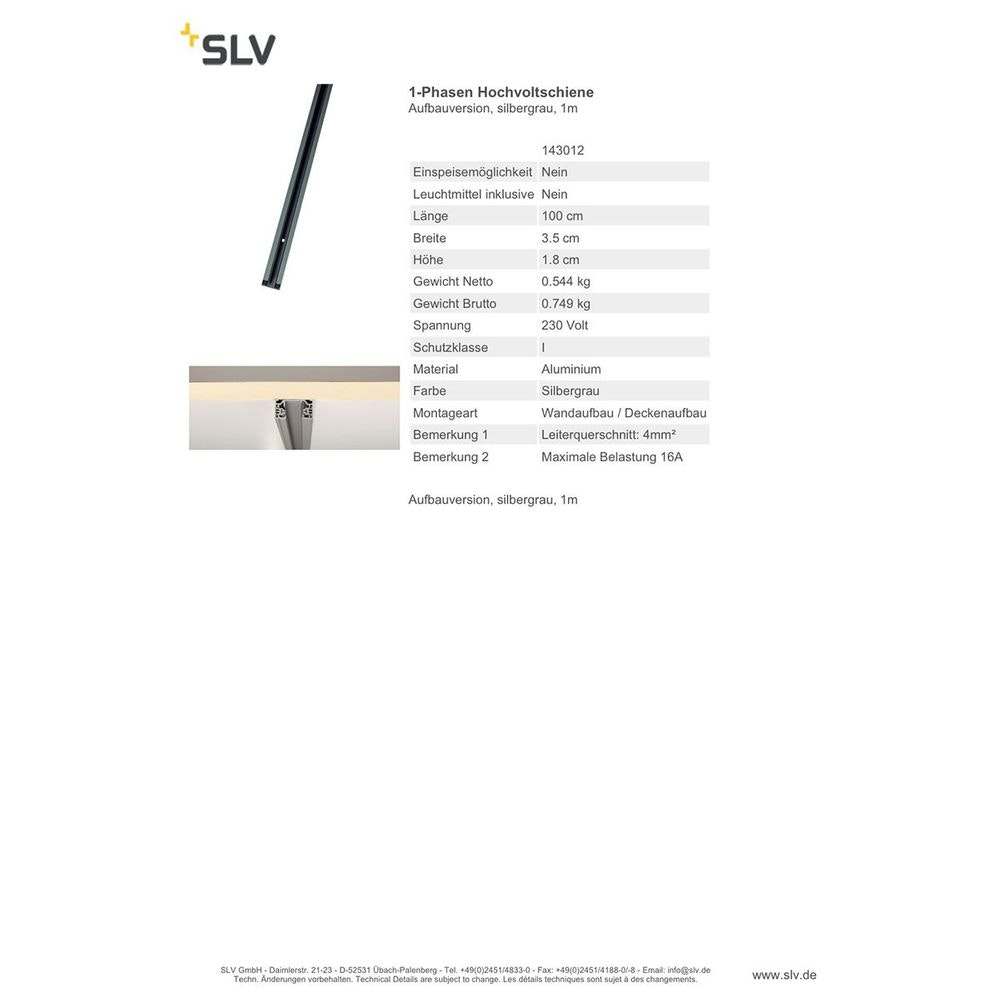 SLV 1-Phasen Hochvoltschiene Aufbauversion silbergrau 1m 3