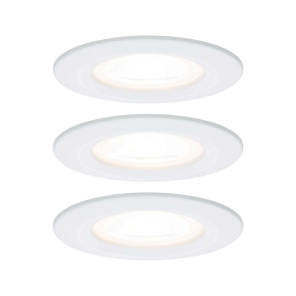 3er-Set LED Einbauleuchten-Set Nova rund starr IP44 3-stepdim Weiß 1