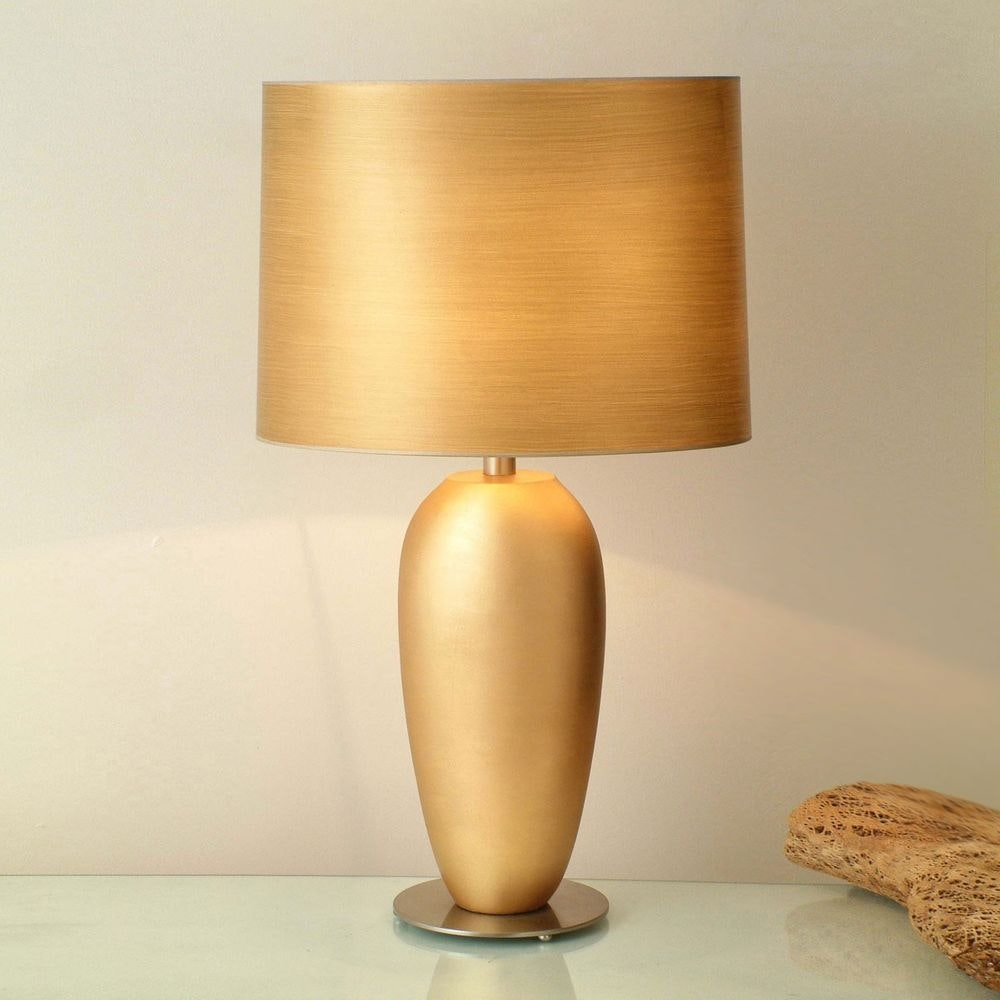 Tischleuchte Omega Oval Grande Keramik-Metall Blattvergoldet-Vernickelt 1