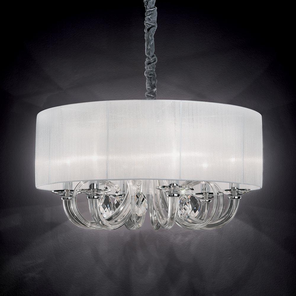 Swan Glas-Lüster mit Plissee Schirm Ø69cm Chrom, Klar 1