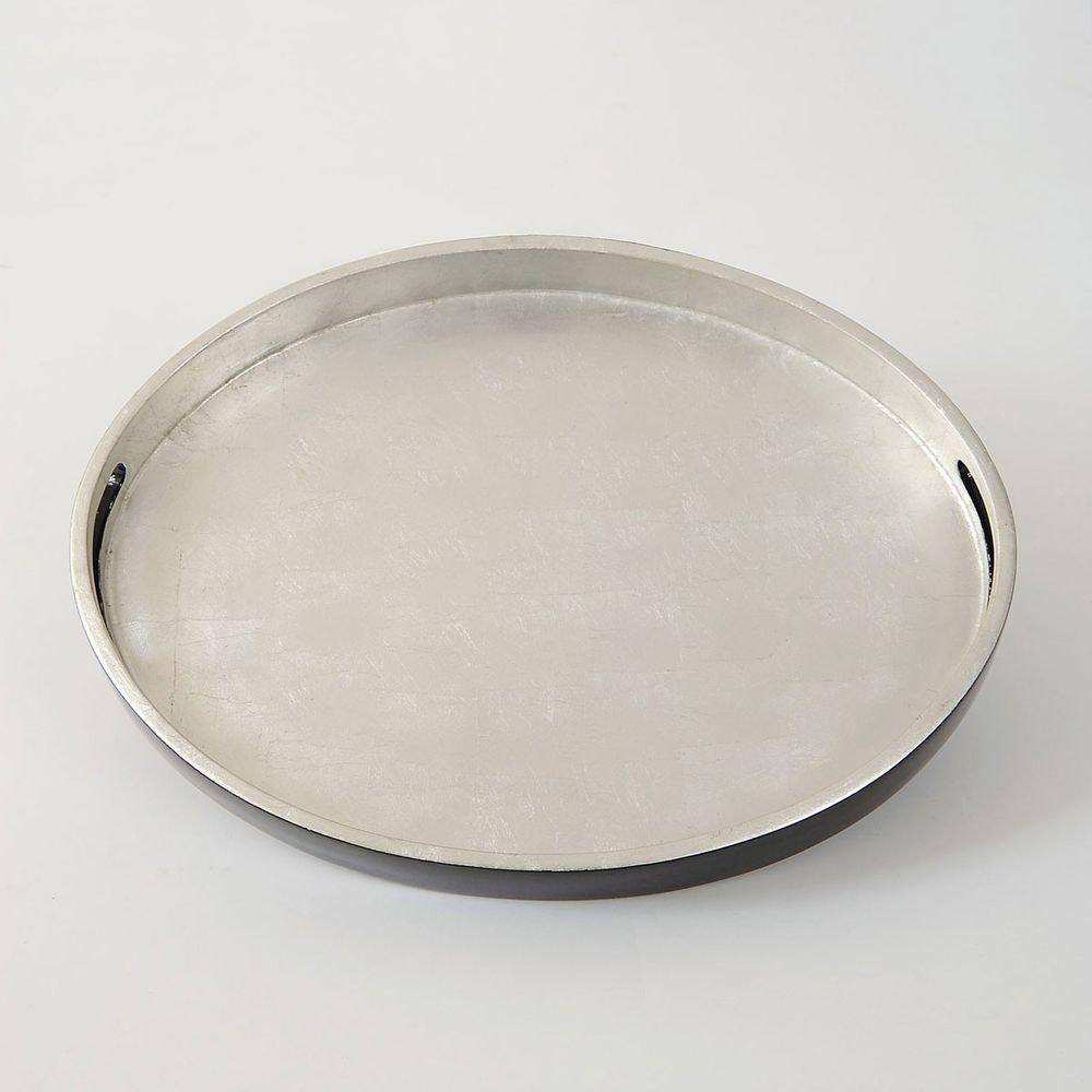 Tablett Giulia Oval Mittel Fiberglas Silber-Schwarz 2